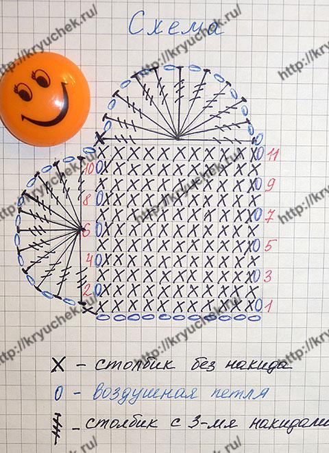 Схема вязанию крючком валентинки