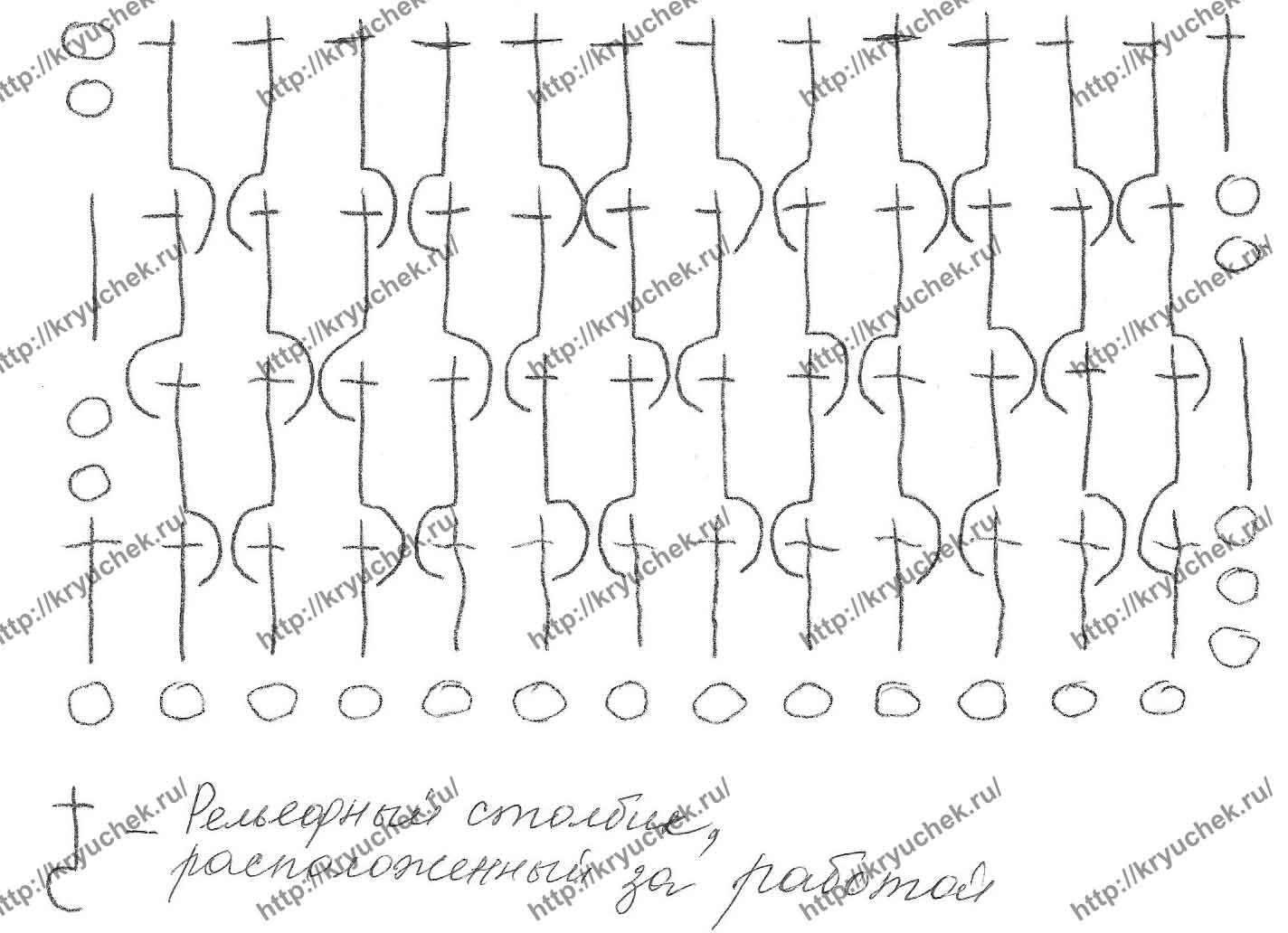 Схема вязания резинки для низа изделия, горловины и проймы