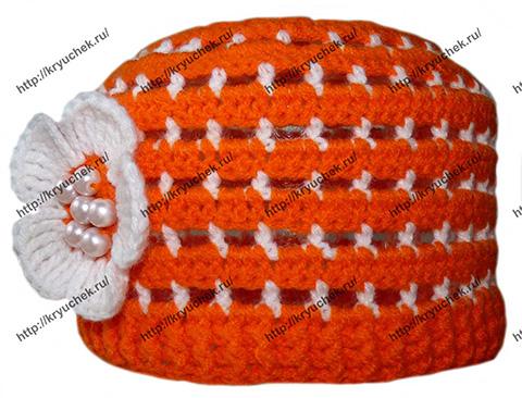 Пример связанного крючком летней детской шапочки