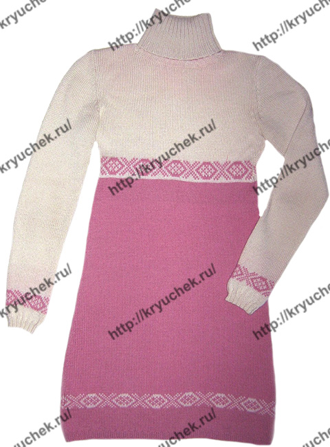 Пример связанного спицами двухцветного платья с орнаментом