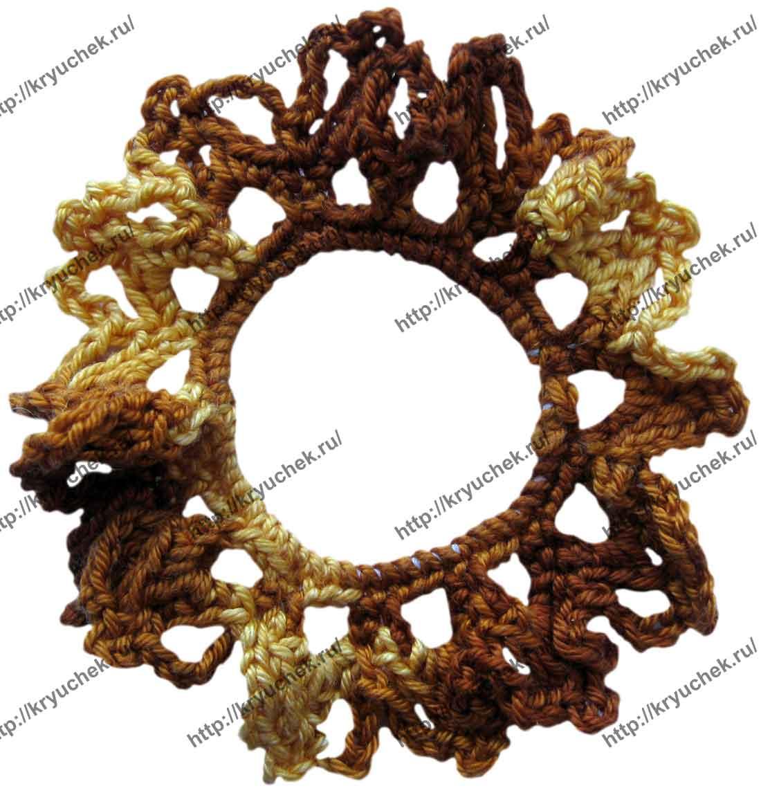 Пример связанной крючком резинки для волос «Осень»