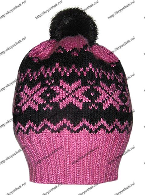 Пример связанной спицами шапочки с жаккардовым узором «Звездочки»