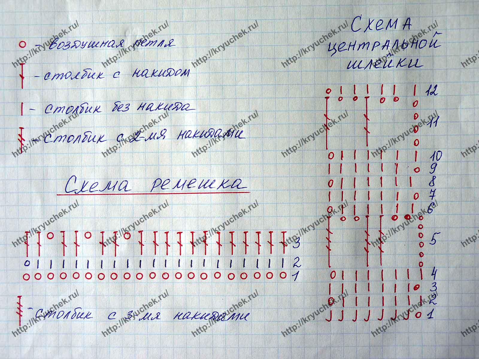 Схема вязания ремешка и шлейки для сандалик