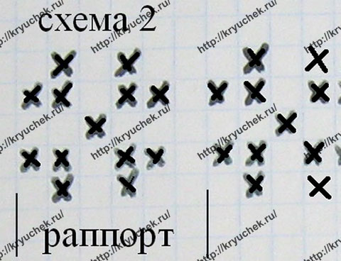 Схема вязания спицами узора №2 для шапки