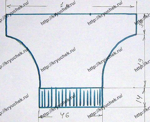 Выкройка для вязания кофточки с рукавом «летучая мышь»