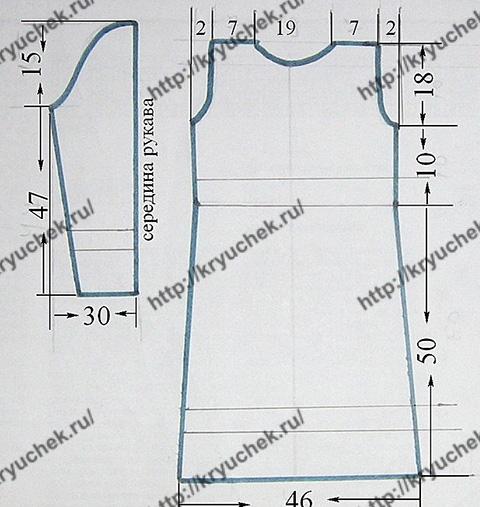 Выкройка для вязания спицами двухцветного платья с орнаментом