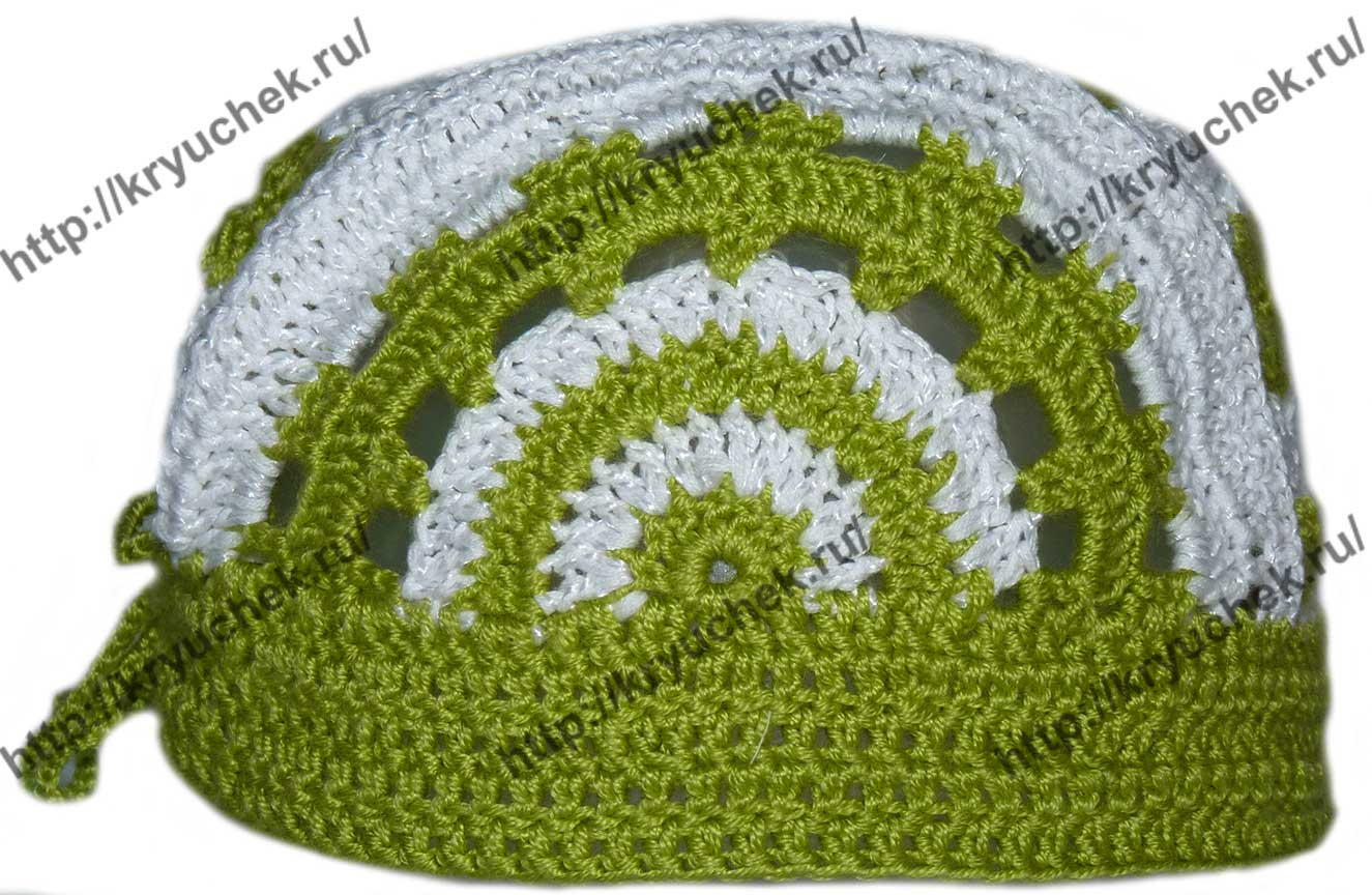 Пример вязания детской шапочки - банданы (вид сбоку)