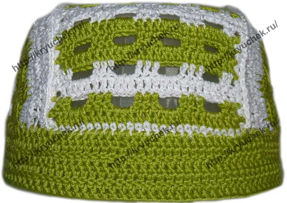 Пример вязания детской шапочки - банданы (вид спереди)