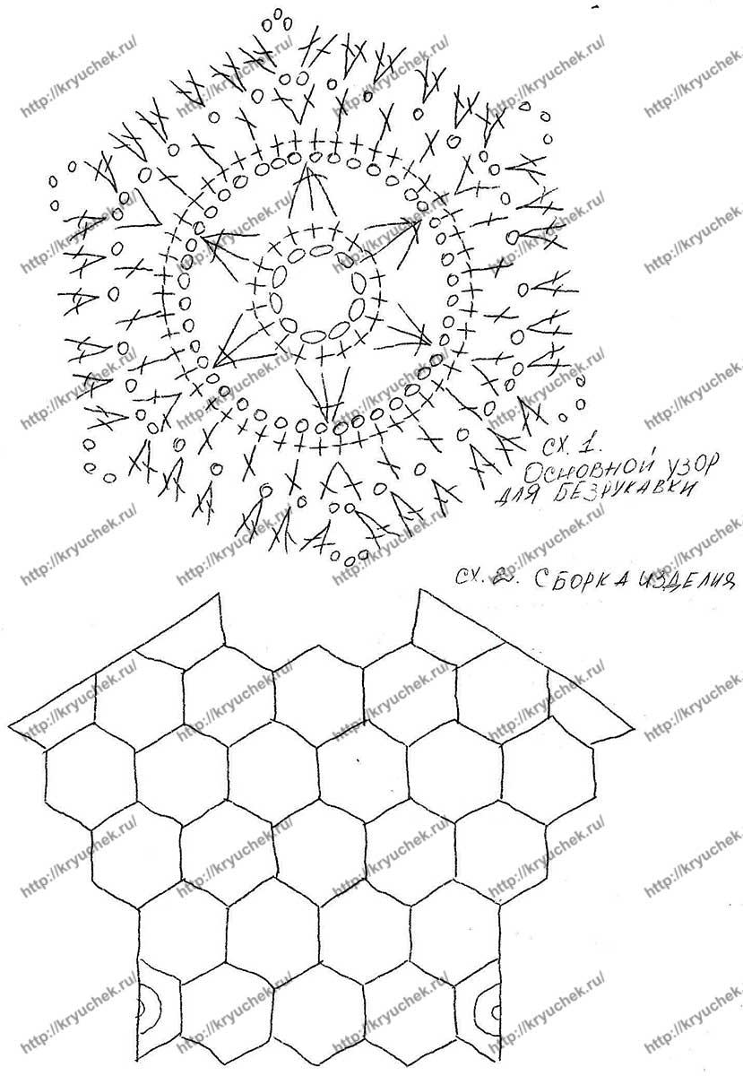 Схема вязания крючком мотива и сборки изделия