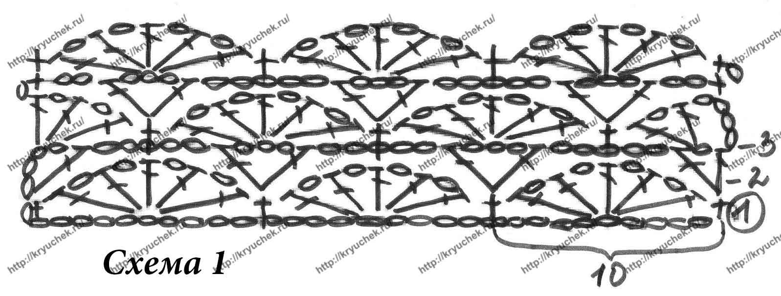 Схема вязания крючком основного узора для болеро