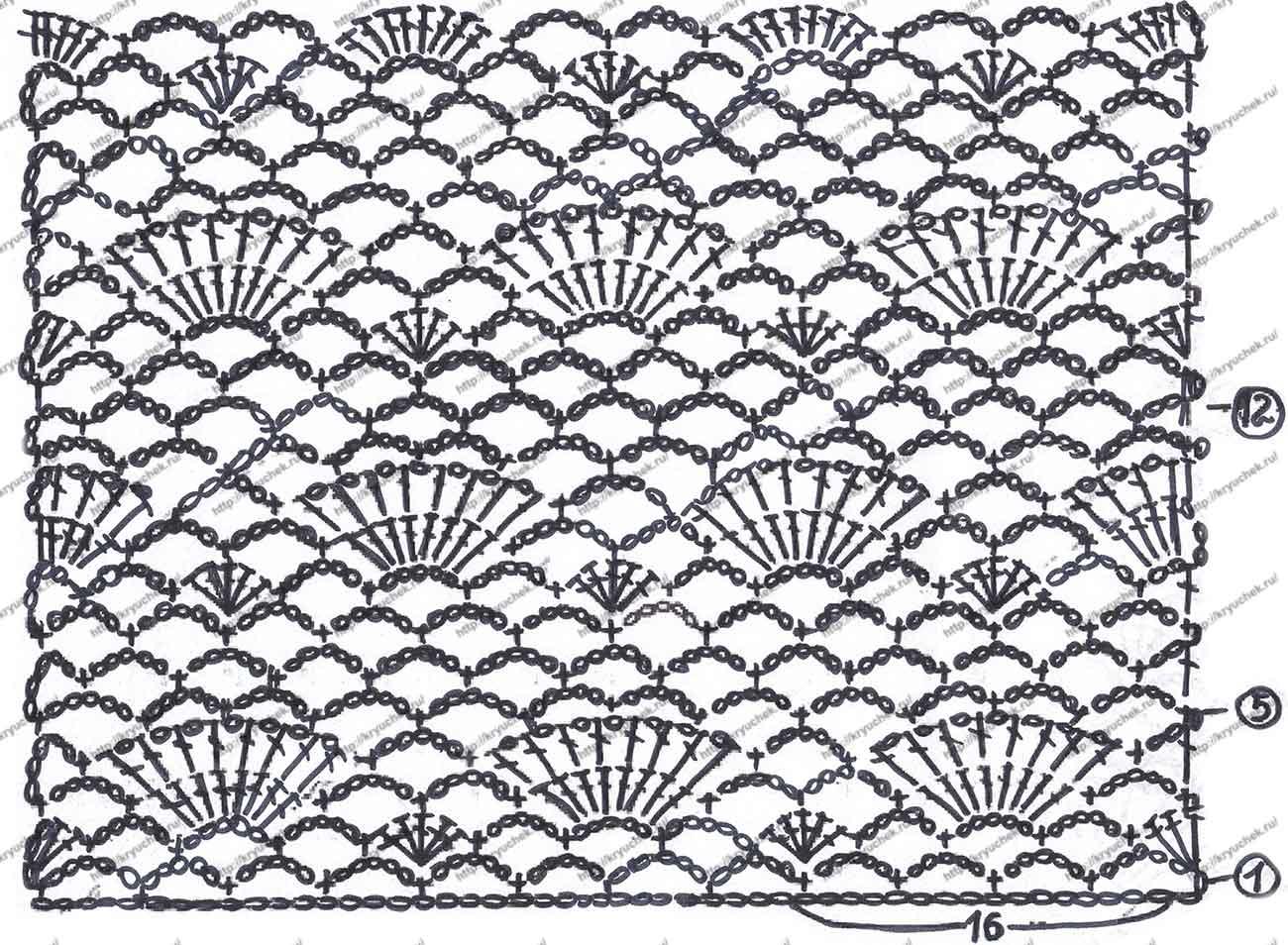 Схема вязания крючком розового топа для девочки (нижняя часть)