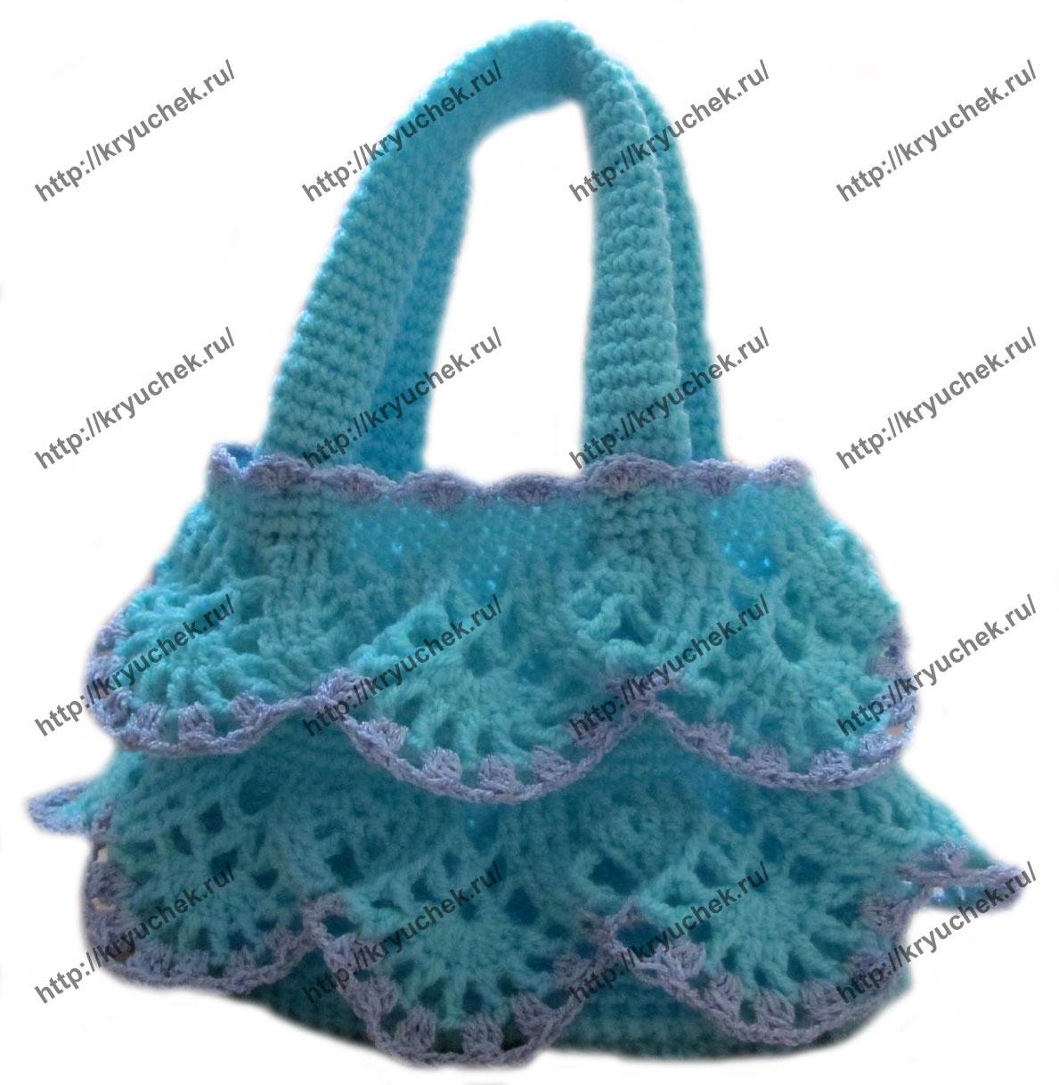 Пример связанной крючком детской сумочки для девочки