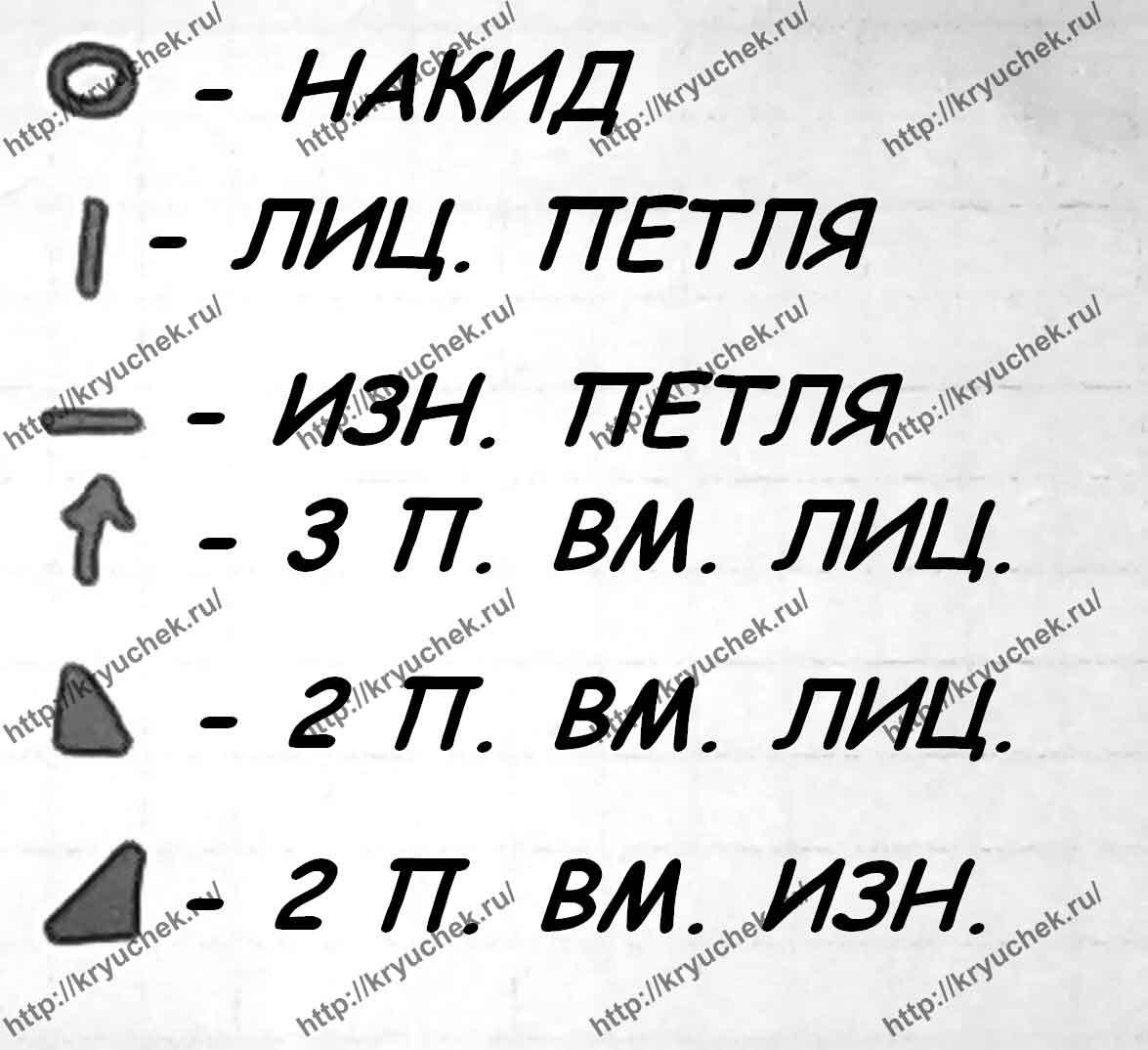 Условные обозначения к схеме вязания кофточки