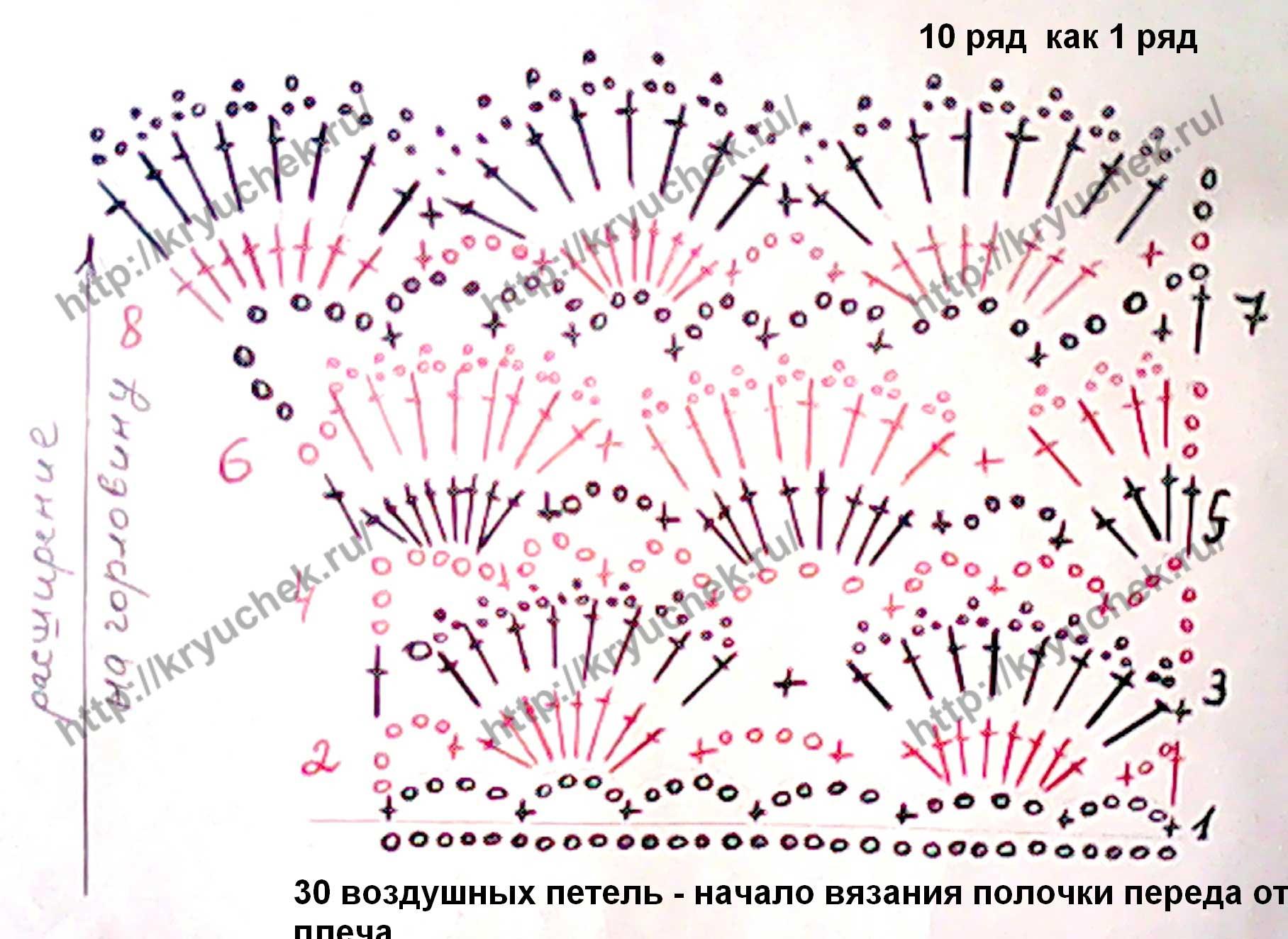 Схема вязания расширения горловины желтого жакета