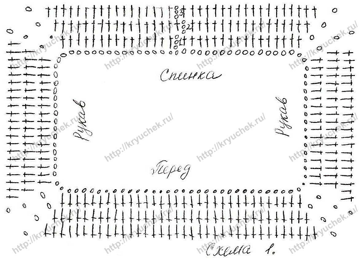 Схема вязания крючком кокетки для розового платья