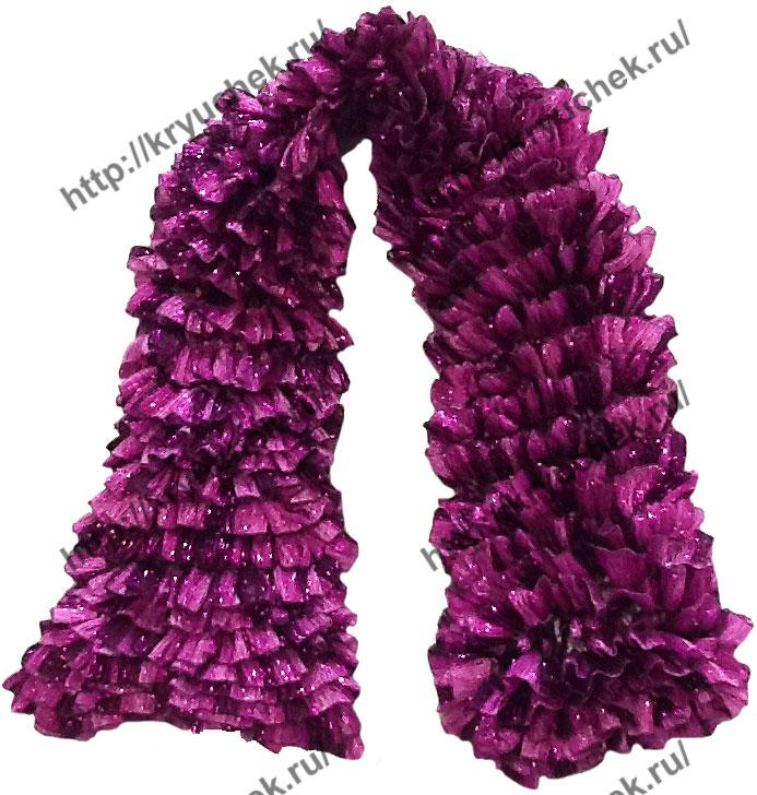 Пример связанного спицами ленточного шарфа