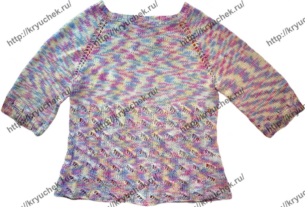 Пример связанного спицами меланжевого свитера