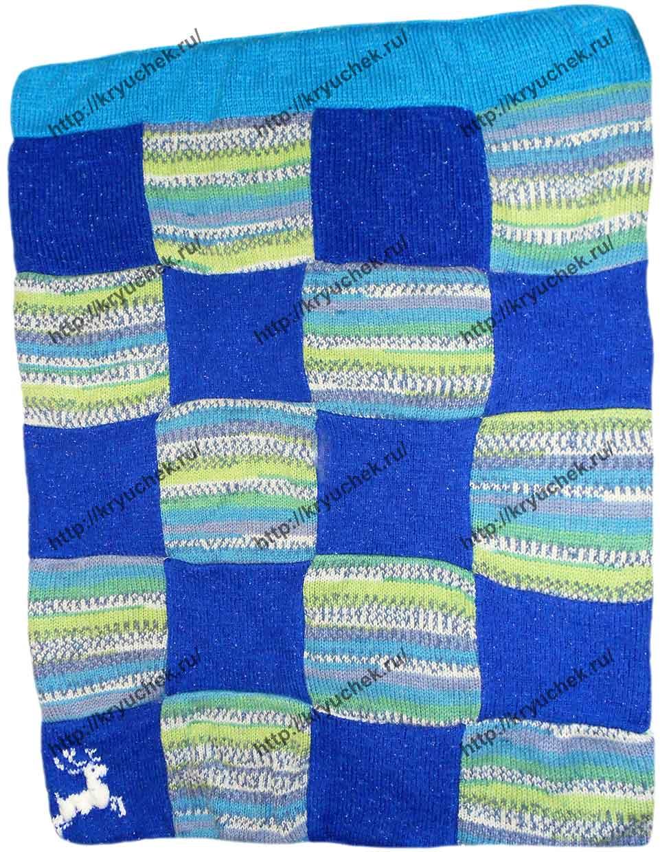 Пример связанного спицами детского одеяла «Северное сияние»