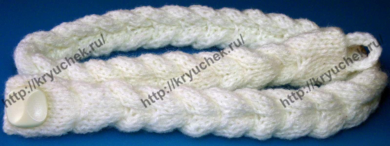 Пример связанного спицами плетеного пояса