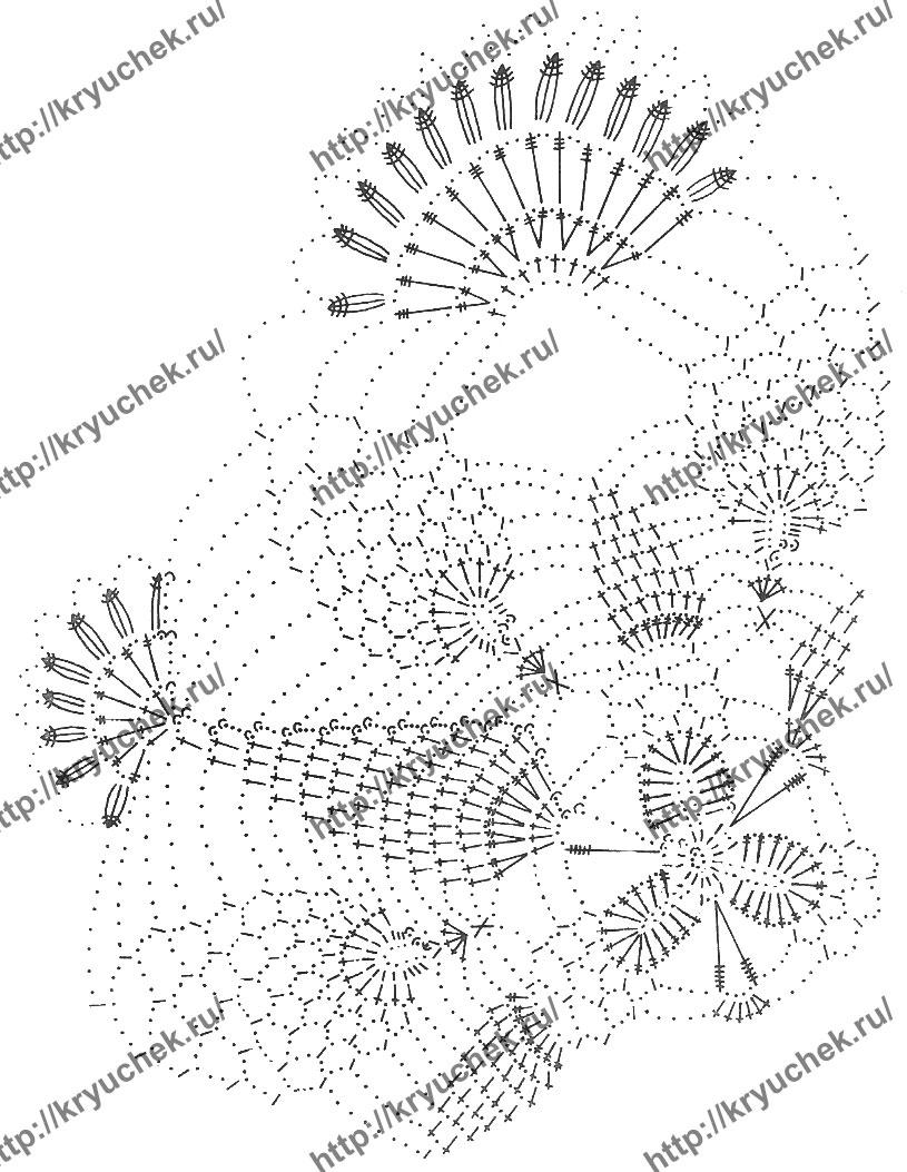 Схема вязания крючком узора для салфетки
