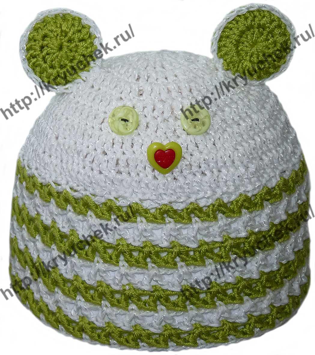 вязание крючком летней ажурной детской шапочки