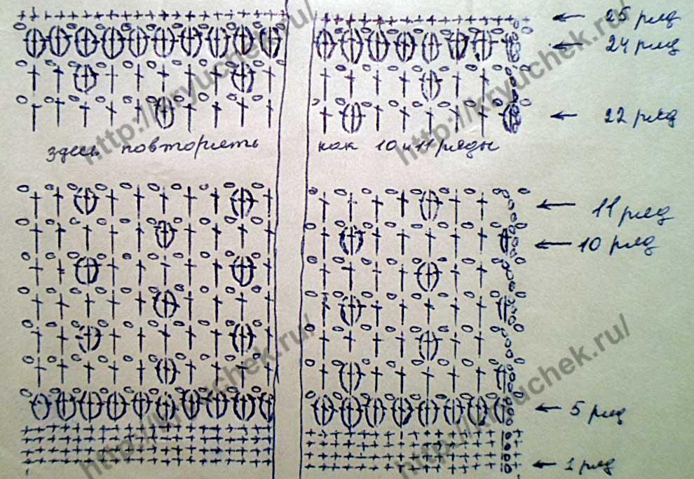 Схема вязания боковой части сумки