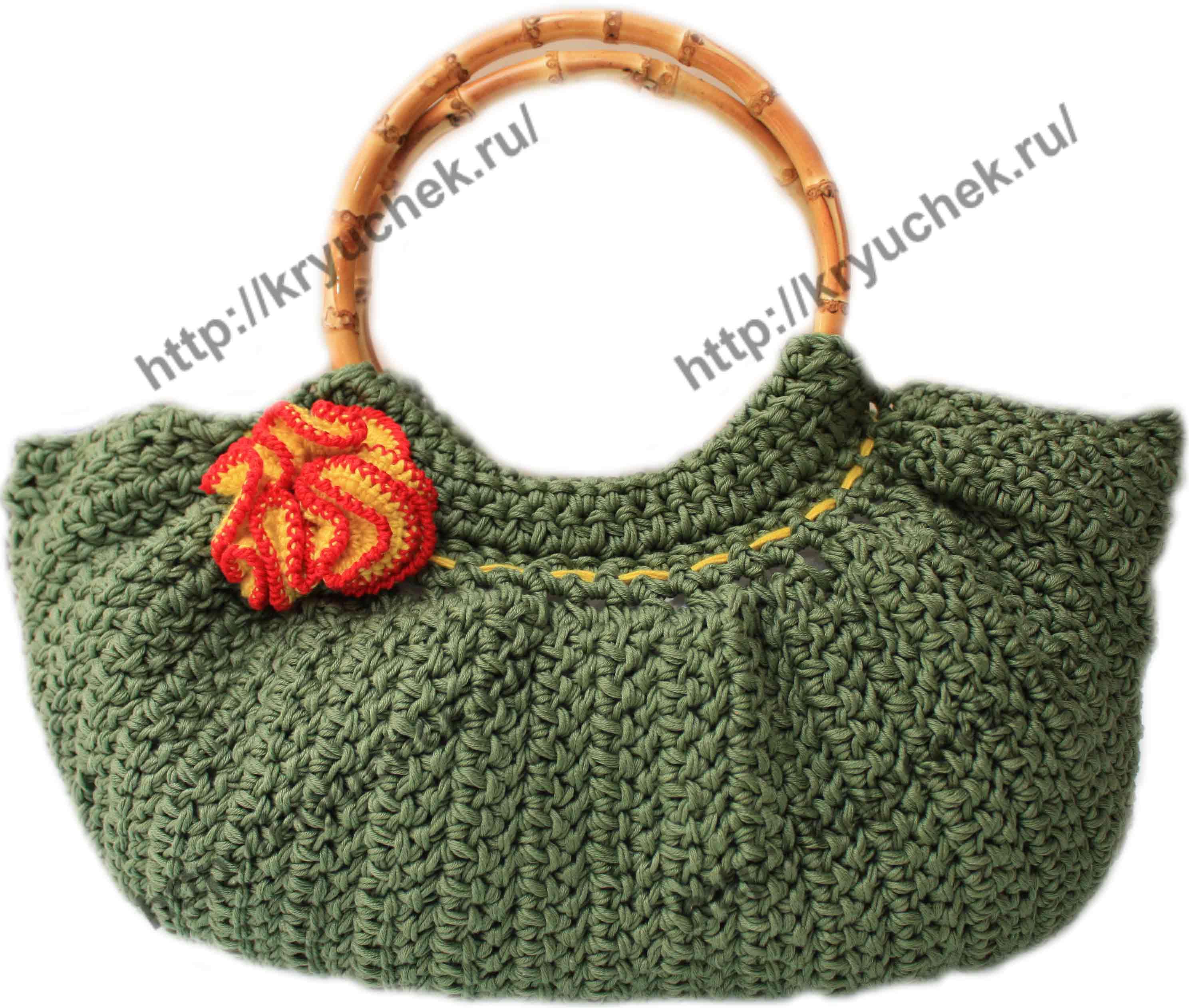 Пример связанной крючком объемной сумки