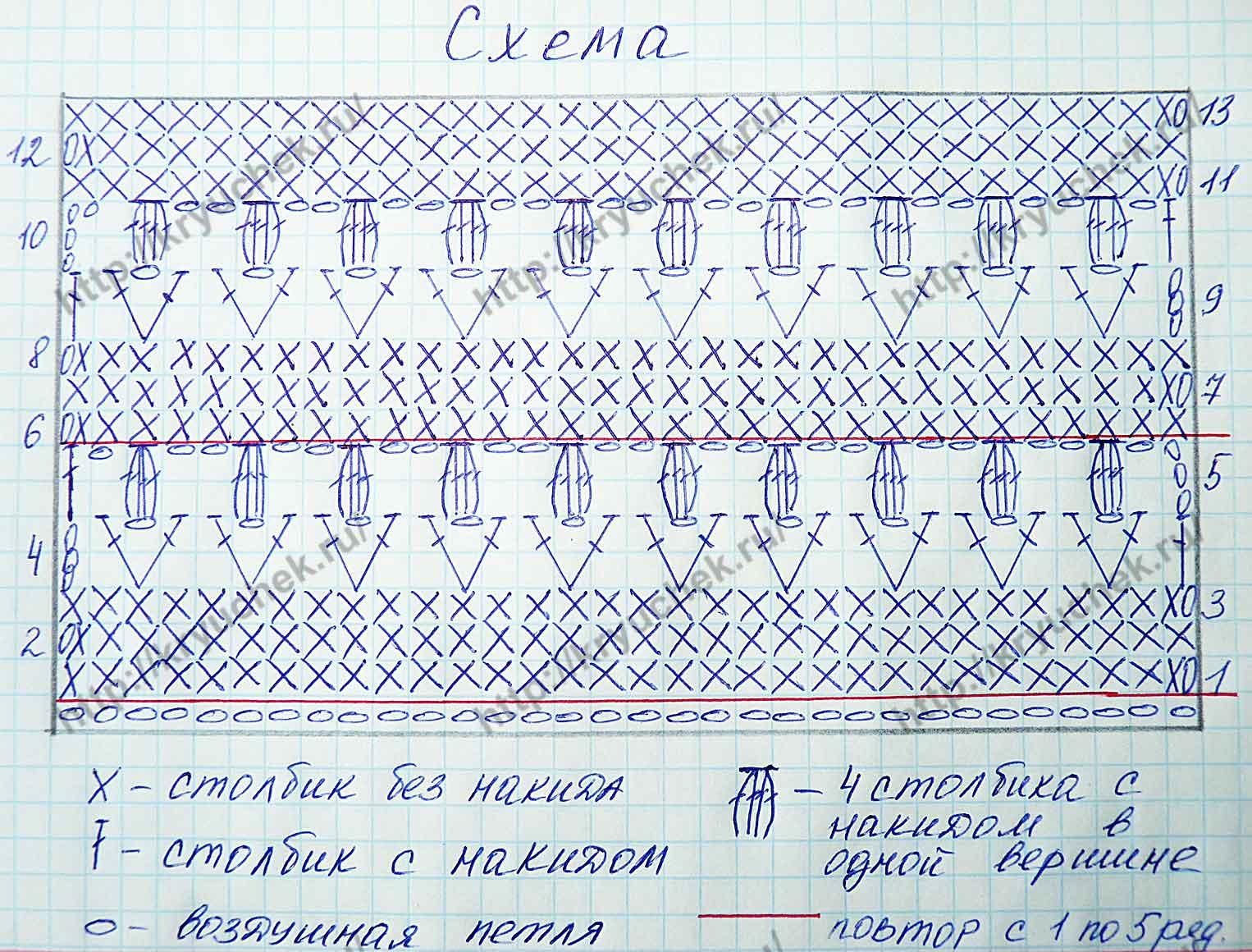 Схема вязания крючком узора «Тюльпаны»