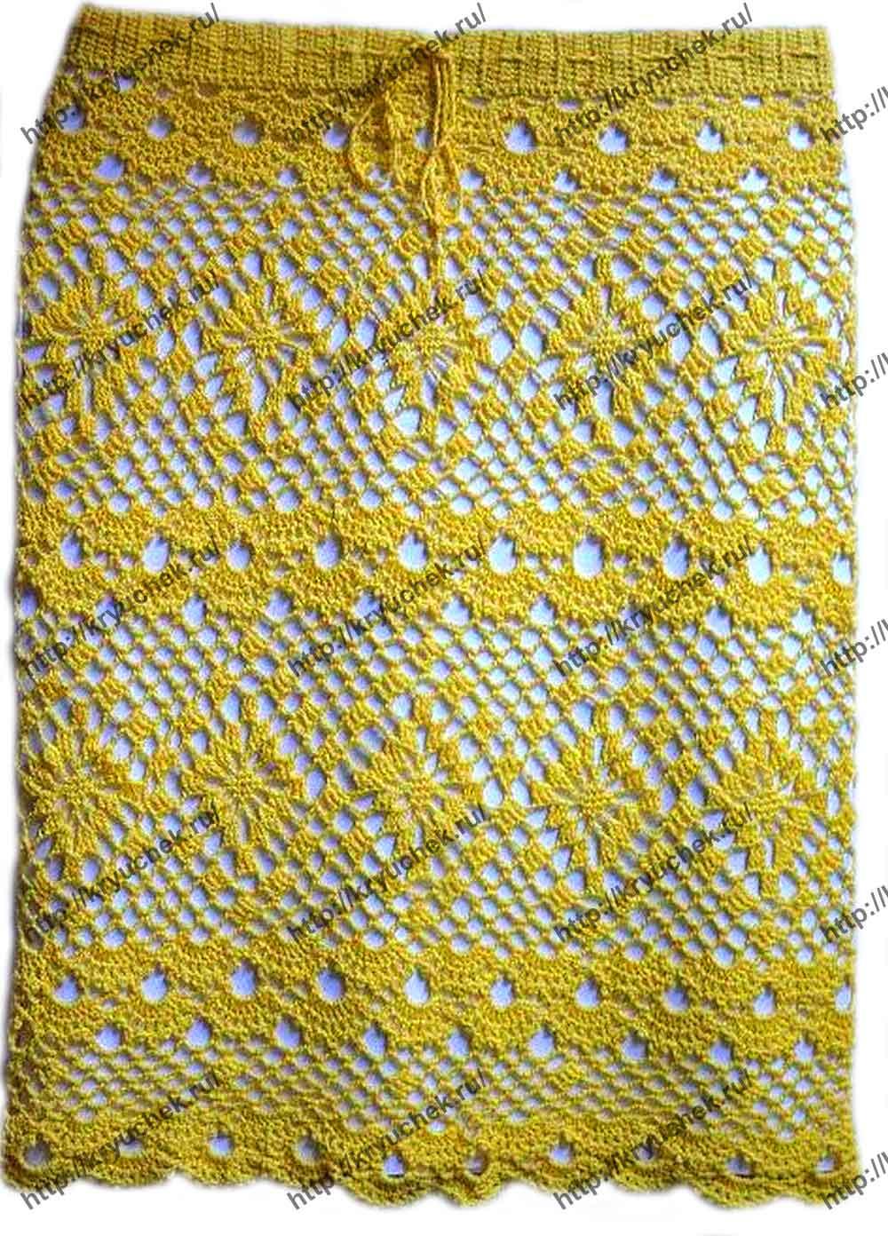 Пример связанной крючком пляжной желтой юбки
