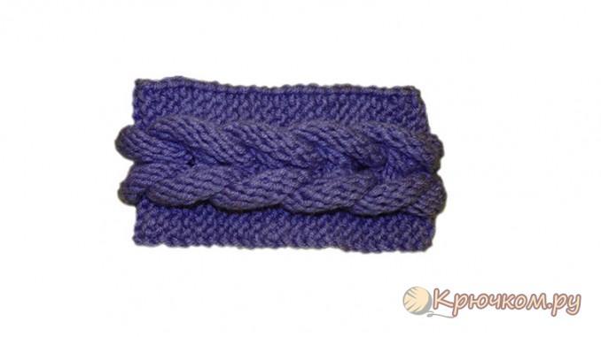 Вязание повязки на голову с плетеной косой
