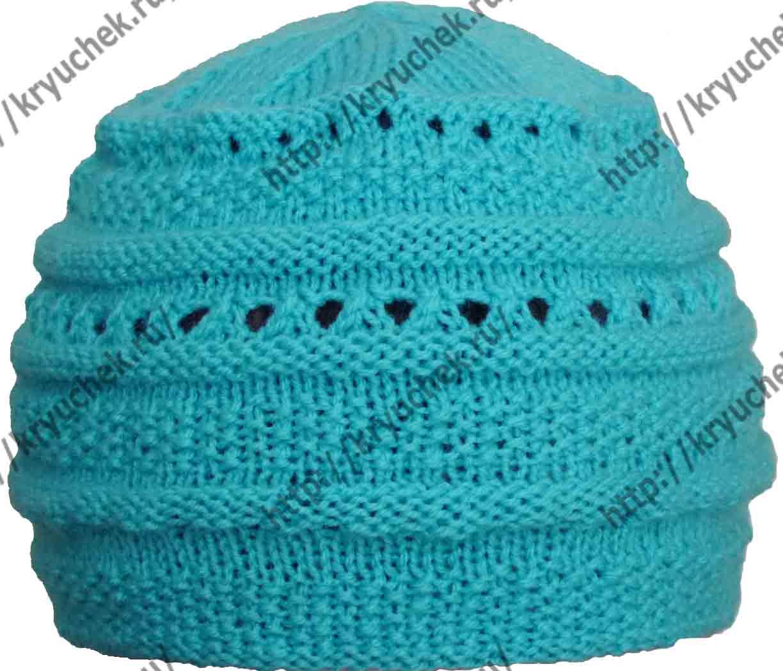 Вязание спицами женской шапки цвета океана