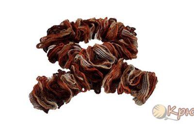 Вязание шарфа из ленточной пряжи Dantela
