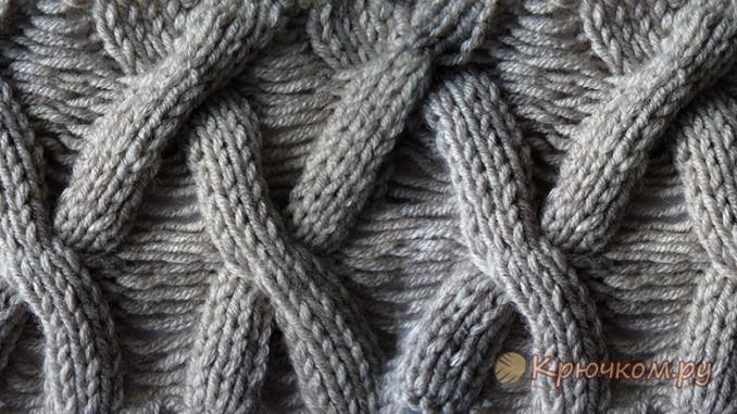 Узор Плетенка спицами со спущенными петлями