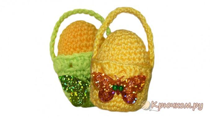 Вязание крючком корзинки для пасхального яйца