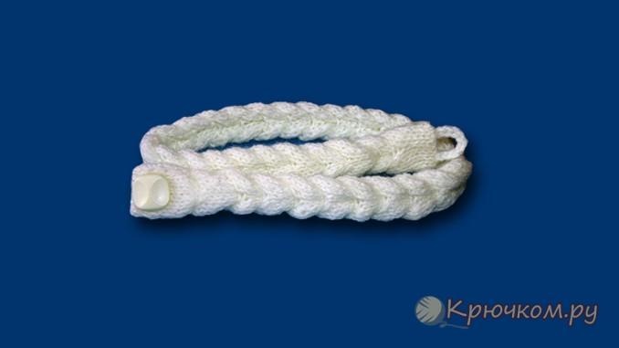 Плетеный пояс связанный спицами