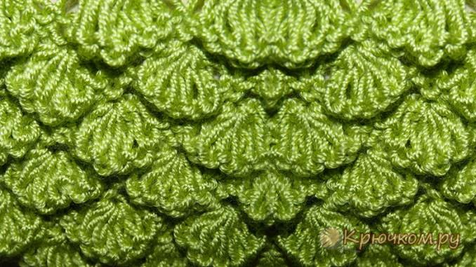 Вязание спицами узора «Чешуйки»
