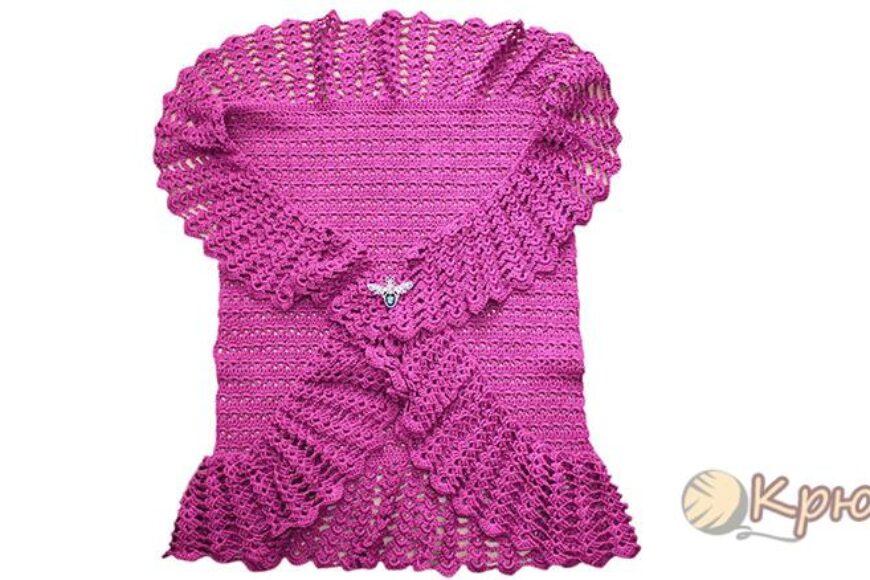 Фиолетовое болеро, связанное крючком