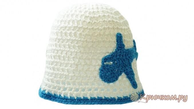 Летняя детская шапочка-сеточка крючком