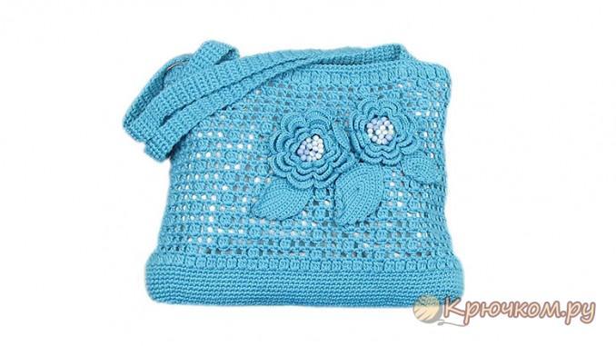 Вязание крючком сумки с розочками