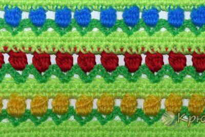 Вязание крючком узора «Тюльпаны»