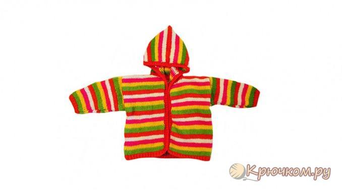 связанная спицами детская кофточка с капюшоном радуга