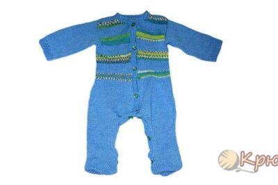 Вязание спицами комбинезона для малыша «Северное сияние»