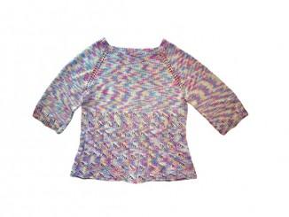 Меланжевый свитер связанный спицами