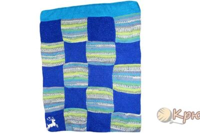 Детское одеяло «Северное сияние», связанное спицами