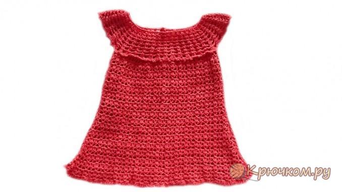 Красное летнее платье связанное крючком