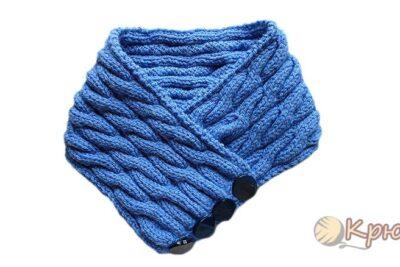 Вязание спицами шарфа – воротника «Синий иней»