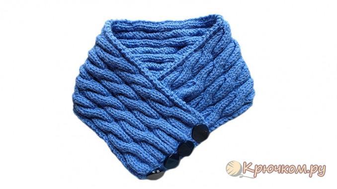 Спицами шарф воротник спицами