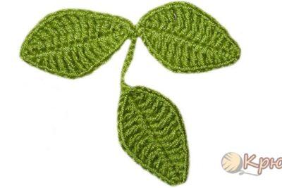 Вязание крючком веточки из листиков