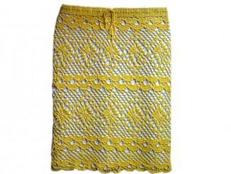 пляжная желтая юбка крючком
