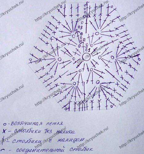 Мотив Африканский цветок крючком схема